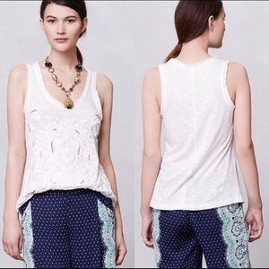 Anthro Meadow Rue White Sequin Ribbon Tank Too